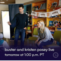 Facebook, Memes, and Mlb: GLANTS  CIANTS  GIANTS  buster and kristen posey live  tomorrow at 1:00 p.m. PT Kristen and I are excited to talk with @amyg about partnering with @esurance to fight pediatric cancer. Watch live on @mlb Facebook page at 1pm tomorrow. TM-(C) MLBAM2017