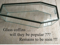Glass, Will, and They: Glass coffins..  will they be popular???  Remains to be seen!!!