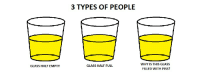 3 types of people: GLASS HALF EMPTY  3 TYPES OF PEOPLE  GLASS HALF FULL  WHY IS THIS GLASS  FILLED WITH PISS? 3 types of people