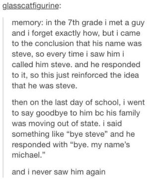 """Family, Saw, and Michael: glasscatfigurine:  memory: in the 7th grade i met a guy  and i forget exactly how, but i came  to the conclusion that his name was  steve, so every time i saw him i  called him steve. and he responded  to it, so this just reinforced the idea  that he was steve  then on the last day of schooi went  to say goodbye to him bc his family  was moving out of state. i said  something like """"bye steve"""" and he  responded with """"bye. my name's  michael.""""  and i  never saw him again Ill call you Steve"""