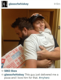 Love, Pizza, and Hero: glassofwhiskey  6m  5863 likes  glassofwhiskey This guy just delivered me a  pizza and I love him for that. <p>Sounds like a hero to me.</p>