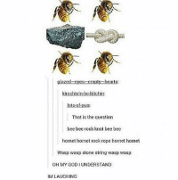 """glazed-eyes-empty-heart  kirschlein. be itchin:  lots of pun:  That is the question  bee bee rock knot bee bee  hornet hornet rock rope hornet hornet  Wasp wasp stone string wasp wasp  OH MY GODI UNDERSTAND  IM LAUGIIING hint: the rock is actually """"ore"""""""