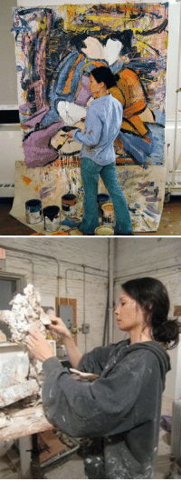 Target, Tumblr, and Blog: glennsbian:  90sbluejeans:  Lucy Liu in her studio.  everytime there is a post about lucy liu, it showcases her absolutely shredding it in whatever she is doing. be it painting, gymnastics, javelin, anything! all of that and she still doesnt look a day over 25. keep killing it, ms liu