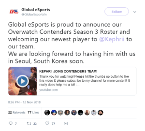 silksthread:  anything rlly IS possible huh: Global eSports  @GlobalEsportsln  Follow  Global eSports is proud to announce our  Overwatch Contenders Season 3 Roster and  welcoming our newest player to @Kephrii to  our team  We are looking forward to having him with us  in Seoul, South Korea soon.  KEPHRII JOINS CONTENDERS TEAM!  Thank you for watching! Please hit the thumbs up button to like  this video & please subscribe to my channel for more content! It  really does help me a lot!  youtube.com  8:36 PM -12 Nov 2018  @e)@e@o  22 Retweets 77 Likes silksthread:  anything rlly IS possible huh