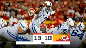 HALFTIME:   #Colts 13 #ChiefsKingdom 10  #INDvsKC https://t.co/uiFf1TcqEI: GLONSKI  64  56  SUNDAY  NIGHT  FOOTBALL  HALF  13 10  KELLY HALFTIME:   #Colts 13 #ChiefsKingdom 10  #INDvsKC https://t.co/uiFf1TcqEI