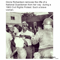 It is an iconic photo. They paved the way for us. @nefertiti_community blackexcellence blackpride blackandproud blackpower africanamerican melanin ebony panafrican blackcommunity problack brownskin blacklivesmatter BLM icantbreathe sayhername blackunity nojusticenopeace policebrutality blackhistorymonth blackhistory ancestors becauseofthemwecan: Gloria Richardson removes the rifle of a  National Guardsman from her way during a  1963 Civil Rights Protest. Such a brave  woman  @blackstagram_ It is an iconic photo. They paved the way for us. @nefertiti_community blackexcellence blackpride blackandproud blackpower africanamerican melanin ebony panafrican blackcommunity problack brownskin blacklivesmatter BLM icantbreathe sayhername blackunity nojusticenopeace policebrutality blackhistorymonth blackhistory ancestors becauseofthemwecan
