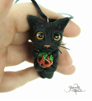 handmadegift-ideas:    Halloween Pumpkin Cat pendant - halloween cat pendant - black cat pendant - black cat necklace - halloween cat jewelry - cute kitty figurine     Cute little black cat made out of polymer clay, holding a halloween pumpkin. :)For the finishing touches I painted it with acrylic paint, and on some parts lacquer coat.Comes with a black silk cord.     Only 1 available : Gloriosa Art handmadegift-ideas:    Halloween Pumpkin Cat pendant - halloween cat pendant - black cat pendant - black cat necklace - halloween cat jewelry - cute kitty figurine     Cute little black cat made out of polymer clay, holding a halloween pumpkin. :)For the finishing touches I painted it with acrylic paint, and on some parts lacquer coat.Comes with a black silk cord.     Only 1 available