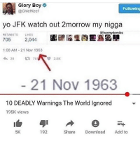 Memes, My Nigga, and Watch Out: Glory Boy  @Chiefkeef  Following  yo JFK watch out 2morrow my nigga  @hennydemiks  RETWEETS LIKES  08 AM-21 Nov 1963  21 Nov 1963  10 DEADLY Warnings The World Ignored  195K views  5K  192  Share Download Add to