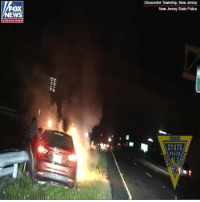 Incredible video captured the moment two New Jersey State Police troopers pulled an unconscious man from his car as it was engulfed by flames.: Gloucester Township, New Jersey  New Jersey State Police  FOX  NEWS  chan nel  STATE  POLICE Incredible video captured the moment two New Jersey State Police troopers pulled an unconscious man from his car as it was engulfed by flames.