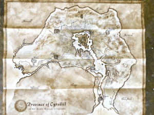 Was going through some old books to donate and came across the Cyrodiil map that came with my collector's copy of Oblivion being used as a bookmark: gmime  rro  erig  rrowin  Drol  alenwo  Marit  Province of Curodiil  s 3 433 Natalia Dravaro. Cartographer Was going through some old books to donate and came across the Cyrodiil map that came with my collector's copy of Oblivion being used as a bookmark