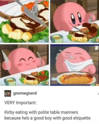 Good, Boy, and Kirby: gnomegnerd  VERY Important:  Kirby eating with polite table manners  because he's a good boy with good etiquette Kirby is a good boy