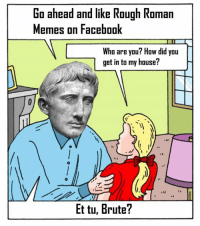 Roman: Go ahead and like Rough Roman  Memes on Facebook  Who are you? How did you  get in to my house?  Et tu, Brute?