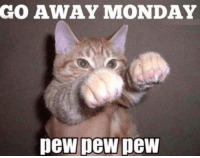 Memes, Mondays, and Monday: GO AWAY MONDAY  pew pew pew #ToMakeYouLaugh :D