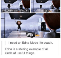 Life, Fight, and Coach: GO, CONFRONT THE PROBLEM.  FIGHT  WIN  I need an Edna Mode life coach.  Edna is a shining example of all  kinds of useful things. <p>Super Life Coach</p>