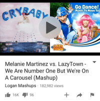 Dancing, Memes, and Maine: Go Dance!  Music To Move To  Melanie Martinez vs. LazyTown  We Are Number One But We're On  A Carousel (Mashup)  Logan Mashups 182,982 views  16 96 i feed off it when people post spam pictures on their mains and don't realize
