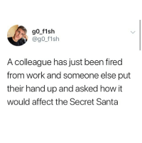 Memes, Work, and Affect: go f1sh  @gO f1sh  A colleague has just been fired  from work and someone else put  their hand up and asked how it  would affect the Secret Santa 😂😂😂