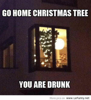 Funny Christmas tree: GO HOME CHRISTMAS TREE  YOU ARE DRUNK  More pics on www.LeFunny.net Funny Christmas tree