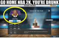 Luke Walton sure looks different.: GO HOME NBA 2K, YOU'RE DRUNK  SEASON AWARDS  COACH OF THE YEAR  LUKE  WALTON  ONBAMEMES  RTG  48-34 20  2  CONF  6TH  83  Given to the coach that made the most positive difference to  78  76  their team.  NEXT Luke Walton sure looks different.