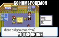 GO HOME POKEMON  MEME  NO  Where did you come from?  YOURE DRUNK Jawab apaan neh? :v  Admin - BBB