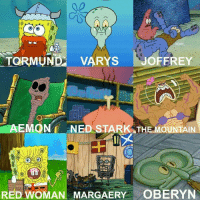 Game of Thrones, Memes, and SpongeBob: GO O  TORMUND VARYS JOFFREY  EMON NED STARK THE MOUNTAIN  RED WOMAN MARGAERY OBERYN Spongebob and Game of Thrones in 1 pic😂😂