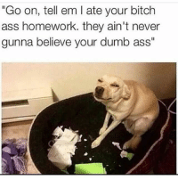"""Ass, Bitch, and Dumb: """"Go on, tell em l ate your bitch  ass homework. they ain't never  gunna believe your dumb ass"""" • Hahahahahah leave a like? 👻😈 ━━━━━━━━━━━━━ ❤️ LIKE This Post! ❤️ 😋 TAG Your Friends 😋 💬 COMMENT Below! 💬 👍 FOLLOW For More! 👍 😂 DM Me Your Memes! 😂 🙏 USE BallistaAlliance 🙏 - GrandTheftauto Gamers Games Bo3 MLG infinityward ps3 cod2015 ps4 positive bo2 view COC Xboxone XB1 tbh Like Game Likes Instagram tb cod Callofduty psn Xbox Gta5 GTAV blackops2"""