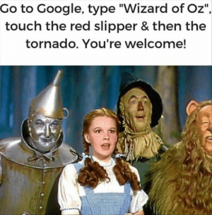 "Funny, Google, and Memes: Go to Google, type ""Wizard of Oz""  touch the red slipper & then the  tornado. You're welcome! Funny Memes That Are So Familiar 34 Pics"