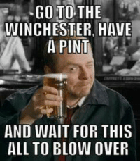 wait for it: GO TO THE  WINCHESTER HAVE  A PINT  AND WAIT FOR THIS  ALL TO BLOW OVER