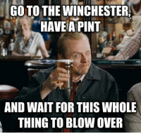 When people ask what I'll do after I vote. #vote #election: GO TO THE WINCHESTER,  HAVE A PINT  AND WAIT FOR THIS WHOLE  THING TO BLOW OVER When people ask what I'll do after I vote. #vote #election