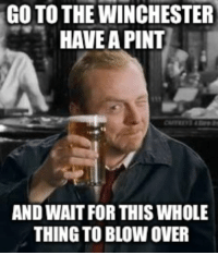 Asked my British friend how he felt about the whole Brexit vote and he sent me this...: GO TO THE WINCHESTER  HAVE APINT  AND WAIT FOR THIS WHOLE  THING TO BLOW OVER Asked my British friend how he felt about the whole Brexit vote and he sent me this...
