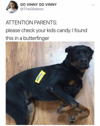 I don't even have kids but I think I'm going to go buy all the butterfingers in Toronto and hopefully get lucky like Vinny 🍀 🐶: GO VINNY GO VINNY  @The08demo  niau  ATTENTION PARENTS:  please check your kids candy. I found  this in a butterfinger I don't even have kids but I think I'm going to go buy all the butterfingers in Toronto and hopefully get lucky like Vinny 🍀 🐶