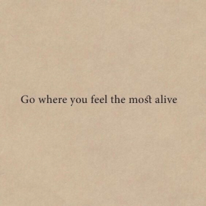 Alive, You, and Feel: Go where you feel the most alive