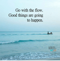 go with the flow: Go with the flow  Good things are going  to happen.  Lessons
