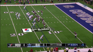 .@Dak escapes and tosses to @Michael13Gallup for SIX! 🙌  📺: #HOUvsDAL on @NFLNetwork Watch on mobile: https://t.co/TSVSsOzib3 https://t.co/kYSBmKgDRT: &GOAL  RD  pepsi  3 HOU 0  DAL 0  1ST  11:00  3RD & GOAL .@Dak escapes and tosses to @Michael13Gallup for SIX! 🙌  📺: #HOUvsDAL on @NFLNetwork Watch on mobile: https://t.co/TSVSsOzib3 https://t.co/kYSBmKgDRT