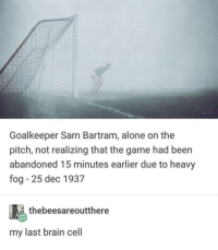 Being Alone, The Game, and Brain: Goalkeeper Sam Bartram, alone on the  pitch, not realizing that the game had beern  abandoned 15 minutes earlier due to heavy  fog - 25 dec 1937  thebeesareoutthere  my last brain cell Can relate!