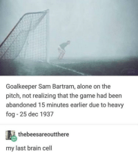 Being Alone, The Game, and Brain: Goalkeeper Sam Bartram, alone on the  pitch, not realizing that the game had been  abandoned 15 minutes earlier due to heavy  fog 25 dec 1937  thebeesareoutthere  my last brain cell i choked