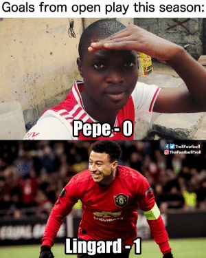 The £72 million fraud (📷: @RedDevilBible ) https://t.co/hk4DIIYekJ: Goals from open play this season:  UITR  Рере-0  fTrollFootball  TheFootballTroll  SHEVRD  Lingard-1 The £72 million fraud (📷: @RedDevilBible ) https://t.co/hk4DIIYekJ