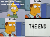 """God, Memes, and What Does: GOD  Mr. McClure, what  does DNA stand for?  THE END  VOD """"Lisa the Simpson""""   S9E17"""