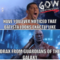 Dwayne Johnson, God, and Memes: GOD OF WRESTLING  HAVE YOU EVER NOTICED THAT  BATISTA LOOKS EXACTLY LIKE  ORAN FROM GUARDIANS OF THE  GALAXY Greatest twins since The rock and Dwayne Johnson prowrestling professionalwrestling randyorton jindermahal batista wwe wwenxt @davebautista wweraw wwesuperstars wweuniversalchampionship wweuniverse wwewrestling wweworldheavyweightchampion wwenetwork wwememes wwebacklash wrestle wrestler wrestlers wrestling wrestlingmemes worldwrestlingfederation worldwrestlingentertainment