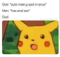 Anal: God: *puts male g spot in anus*  Men: *has anal sex*  God:  @gayboyproblems.alf