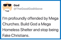 (S): God  TheGoodGodAbove  I'm profoundly offended by Mega  Churches. Build God a Mega  Homeless Shelter and stop being  Fake Christians. (S)