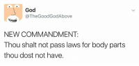 shalt: God  @TheGoodGodAbove  NEW COMMANDMENT:  Thou shalt not pass laws for body parts  thou dost not have.