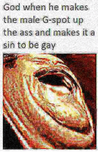 male g spot: God when he makes  the male G-spot up  the ass and makes it a  sin to be gay