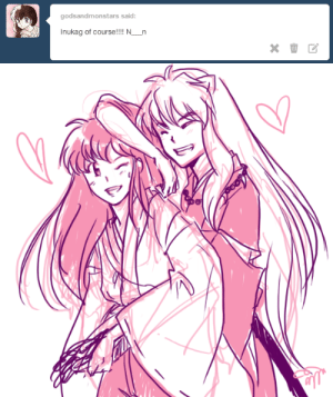 justafewsmallsteps:  inuyasha teases kagome because she's so cute and tiny!!!: godsandmonstars said:  Inukag of course!!!! N__n justafewsmallsteps:  inuyasha teases kagome because she's so cute and tiny!!!