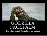 facepalm: GODZILLA  FACE PALM  For when an epic facepalm is not enough