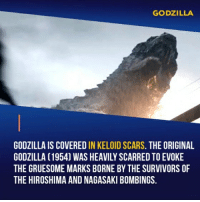 Facts, Godzilla, and Memes: GODZILLA  GODZILLA IS COVERED IN KELOID SCARS. THE ORIGINAL  GODZILLA (1954) WAS HEAVILY SCARRED TO EVOKE  THE GRUESOME MARKS BORNE BY THE SURVIVORS OF  THE HIROSHIMA AND NAGASAKI BOMBINGS. I enjoyed the Cinematography in this film. Gareth Edwards is a very talented Director. I can see that he is very much inspired by Spielberg's films and his skill in framing. He chose the right example to follow. - Follow @cinfacts for more facts - - - godzilla action movie aarontaylorjohnson bryancranston garethedwards elizabetholsen sallyhawkins juliettebinoche kenwatanabe starwars rogueone