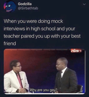 Best Friend, Dank, and Godzilla: Godzilla  @Sirbathtab  When you were doing mock  interviews in high school and your  teacher paired you up with your best  friend  abs  Why are you gay? My favorite by jakesnader MORE MEMES