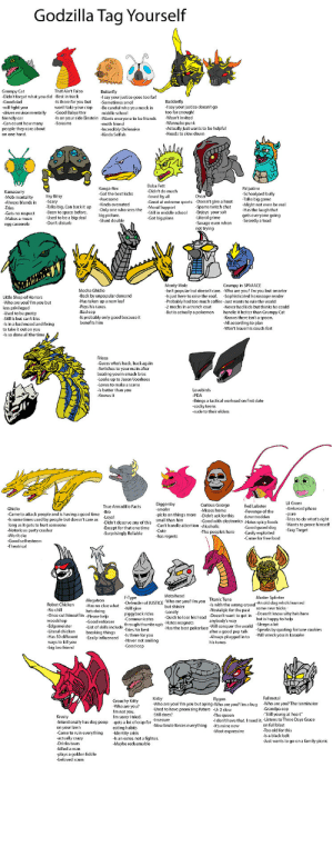 "andrewtheamericandude:  Some of these are stupid jokes that even I don't get : Godzilla Tag Yourself  That Ain't Falco  Didn't forget what you did -Best in track  -Is there  Grumpy Cat  Butterfly  I say your justice qoes too far!  -Sometimes smol  Good dad  r you but  Badderfly  justice doesn't go  you mock in  -drives environmentally  -Good Babysitter  -Is on your side Einstein -Wants everyone to be friends  middle school  too far enough!  friendly car  Can count how many  -Wasn't invited  -Screams  moth friend  wants to be helpful  are about  fensive  on one hand.  -Kinda Selish  -Needs to slow down  Boba Fett  Didn't do much  Kanga-Rex  Palpatine  Kamacurry  -Mob mentality  -Always blends in  -Tries  st kicks  uly  Talks big game  Itsy Bitsy  -loved by all  -Great at extreme sports Doeshtgive a hood  Moral Support  -Awesome  -Kinda overrated  -Only one who sees the  big picture  -Stunt double  ary  aks big Cam  Might not even be real  Has the laugh that  gets everyone going  -Secretly a toad  pams twitch chat  school  -Makes a  egg casserole  Literal grime  Savage even when  not trying  -Used to be a big deal  -Don't disturb  -Got big plans  SPAAACE  Monty Mole  r but doesn't rare  Is just here to raise the roof.  Mecha Ghidio  u but smarter  -Sophisticated horoscope reader  -Probably had too much coffee-Just wants to rule the world  -Back by unpopular demand  Little Shop of Horrors  -Who are you? I'm you but  less privileged  -Has taken up a new leaf  handlla s but thinks he could  -Knows there isn't a spoon.  All according to plan  -Won't leave his couch fort  a trench coat  a pokemon  Sill is hut can't kiss  Is probably only good because it  benefits him  -ls in a bad mood and fixing  to take it out on you  -ls so done all the timeA  Frieza  Switches to vour main after  beating you in smash bros  -Looks up to Jason Voorhees  s hetter than  Knows it  Lovebirds  -Brings a tactical warhead on first date  -cocky teens  Lil Green  -Awkward phase  Diggersby  -smoler  -picks on things more  e  True Armadillo Facts  Red Lobster  Mis  Ghidio  the  downtrodder  -Good with electronics Hates spicy foods  -Good guard dog  -Came to attack people and is having a good time  l  -pure  -Didn't ask for this  small than him  -Didn't deserve any of this  -Except for that one time  -Surprisingly Reliable  T peo  -Notorious party crasher  -Easy Target  ple's hero  -Won't die  -has regrets  -Came for f  T -esteem  F-Type  Master Splinter  Titanic Tuna  Is with the wrong crowd nut learned  ett tt in  Megatron  - Has no clue what  you? I'm vou  Robot Chicken  of JUSTICE  but shinier  he's doing  ececut bimself in  -Lonely  piggyback rides  -Communicates  -Doesn't know why he's here  but is happy to help  is head  -Goodenforcer  Hator mat  woodshop  Edgemeister  anybody's way  mbs ups Has the best pokerface-Will conquer the worldSneaks by auoting fortune cookies  List of skills include  bi best  breaking things  sily influenced  Has 50 different  Will wreck you in karaoke  -Is there for you  -Never not smiling  -Good cop  in to  ways to kill you  -big bro friend  his tunes  Fullmetal  Kirby  Flygon  Grouchy Kitty  -Who are you?  not you,  Who are you? I'm you but aping-Who are you? I'm a bug  Who are you? The terminator  have promising future  Still voung at heart""  -I don't have that. I need it.-Listens to Three Days Grace  on full blast  Still does?  The queen  imlot of crap for Insecure  -Intentionally has dog poop  your lawn  Came to ruin everything  Now brute forces everything  -It's mine now  eating habits  -Identity crisis  -Most expressive  -ls a black belt  Mayhe redeemable  -Just wants to go on a family picnic  .Drinks tears  -killed a man  plays a golden fiddle  -beloved scum andrewtheamericandude:  Some of these are stupid jokes that even I don't get"
