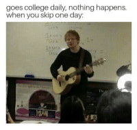 "College, Memes, and Http: goes college daily, nothing happens.  when you skip one day:  The <p>Skipping one day via /r/memes <a href=""http://ift.tt/2AyW4wD"">http://ift.tt/2AyW4wD</a></p>"