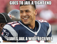 A-A-Ron checking in: GOES TO JAIL A TIGHT END  NLEAVESJAILA WIDERECEIVER  We Know Memes A-A-Ron checking in