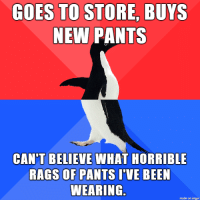 Meme, Imgur, and Bee: GOES TO STORE, BUYS  NEW PANTS  CAN'T BELIEVE WHAT HORRIBLE  RAGS OF PANTS IVE BEE  WEARING  made on imgur Pants Meme